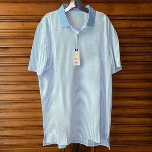 SOUTHERN TIDE FORT FREDERIK STRIPE PERF S/S POLO